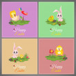 Happy easter pastel colorful vector illustration cards Set meadow with rabbit, chicken, newborn, butterfly, eggs, flower, ladybug — Stock Vector #69415615