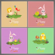 Happy easter pastel colorful vector illustration cards Set meadow with rabbit, chicken, newborn, butterfly, eggs, flower, ladybug — Stock Vector #69415643