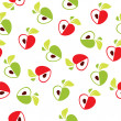 Seamless pattern of red and green apple heart on white background - vector illustration — Stock Vector #71176861