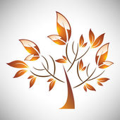 Vector illustration of abstract stylized autumn tree with leaf — Cтоковый вектор