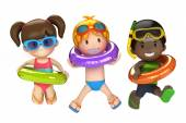 Kids with inflatable ring — Stock Photo