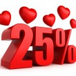 25 percent with hearts — Stock Photo #54860093