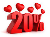 20 percent with hearts — Stock Photo