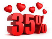 35 percent with hearts — Stock Photo