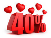 40 percent with hearts — Stock Photo
