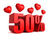 50 percent with hearts — Stock Photo