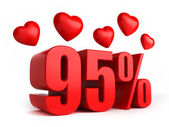 95 percent with hearts — Stock Photo