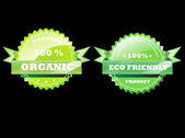 Eco Badges. Eco friendly and organic — Stock Vector