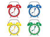 Set of colorful Alarm Clocks. Vintage — Stock Vector
