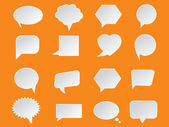 Set of White Paper Speech Bubbles on orange background. Abstract design — Vetorial Stock