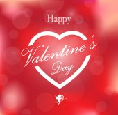 Happy Valentine's card on blurred background — Stock Vector