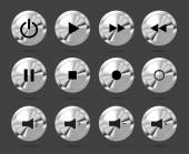 Polished shiny metal buttons with music media symbols — Wektor stockowy