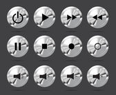 Polished shiny metal buttons with music media symbols — Vecteur