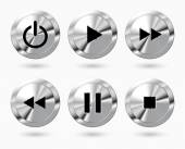 Set of media icons. Music buttons with power button. Vector illustration. — Stock Vector