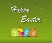 Happy Easter background with Easter Eggs and confetti. Vector illustration. — Stock Vector
