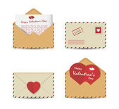 Set of Valentine's Day vintage envelopes with paper red hearts isolated on white background. Vector illustration. — Stock Vector