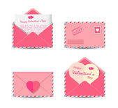 Set of Valentine's Day pink envelopes with paper red hearts isolated on white background. Vector illustration. — Stock Vector