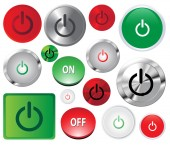 Set of Power start buttons. Web icons. Vector illustration. — Stock Vector