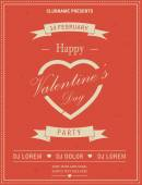 Happy Valentines Day Retro Party flyer invitation. Vector illustration. — Stock Vector