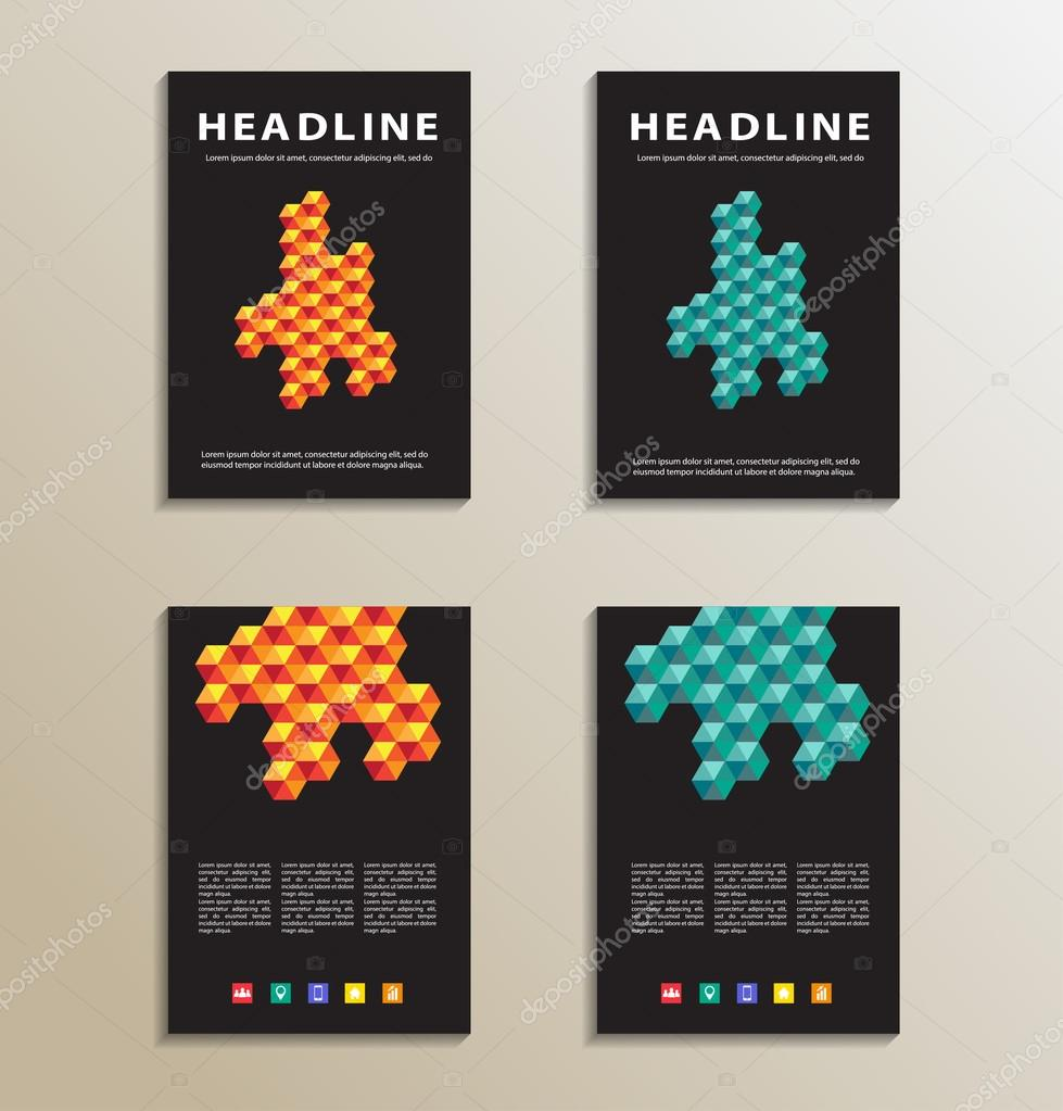 four brochure catalog cover page layout template orange and four brochure catalog cover page layout template orange and blue geometric design