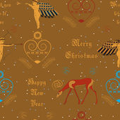 Vector seamless pattern. Christmas golden angels — Stock Vector