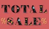 Inscription Total Sale — Stock Vector