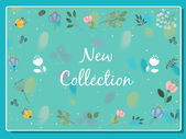 花の背景で新しいコレクション碑文 — ストックベクタ
