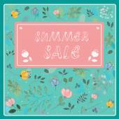 Season sale inscription with floral background — Stock Vector