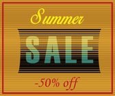 Summer Sale Inscription. Striped  Yellow Blue Letters — Stock Vector