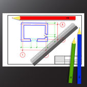 Colored pencils, ruler, drawing, design, plan — Stock Vector