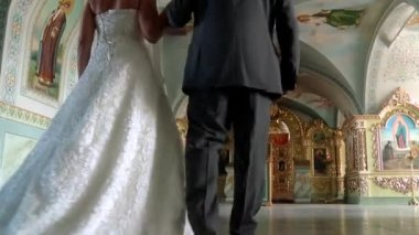 Wedding ceremony in the Church — Stock Video