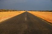 Namibian road just before a downpour — Stock Photo