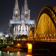 Cologne Cathedral (Dom) and Hohenzollern Bridge, Cologne, Germany — Stock Photo #67918075