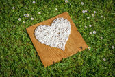 Hand crafted wool heart on wooden plank. — Stock Photo