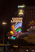 MACAU, MACAU - OCTOBER 16, 2014 - Night scene at the world famou — Stock Photo