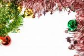 Dekoratif Noel süs ve bırak metin için beyaz çerçeve — Stok fotoğraf