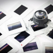 Pile of old slide with the loupe — Stock Photo #58381809
