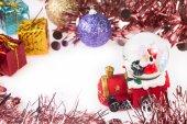 Santa Crystal snow ball on Christmas background — Stock Photo