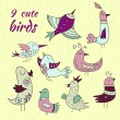 9 cute birds set — Vector de stock