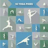 23 yoga poses silhouettes — Stock Vector