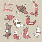 9 cute winter birds — Stock Vector