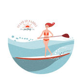 Stand Up Paddle Surfing — Stock Vector