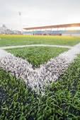 Artificial turf soccer field, a corner marker line — Foto Stock
