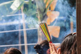 Burning the incense to worship the sacred — Stock Photo