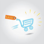 Sale tag with shopping cart is concept of vector discount,sale — Stok Vektör