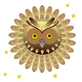 Owl head with feathers — Stock Vector