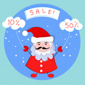 Santa Claus, Christmas sale — Stock Vector