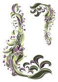 はがきの花のフレーム — ストックベクタ
