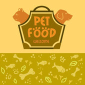 Logo with animals for pet food shop. Cat and dog — Stock Vector