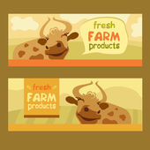 Fresh farm products. Happy cow on meadow. — Vecteur